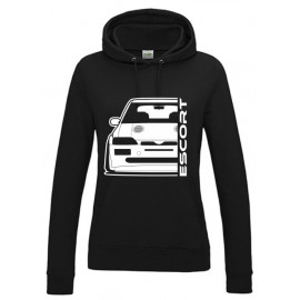 Ford Escort MK5 Cosworth Outline Modern Hoodie Lady