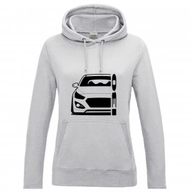 Hyundai I30 GD 2011-2017 Coupe Outline Modern Hoodie Lady